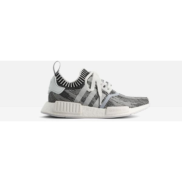 Adidas Adidas Nmd r1 Primeknit Sneakers ($110) ❤ liked on Polyvore featuring shoes, sneakers, white, white shoes, adidas trainers, adidas shoes, white sneakers and urban footwear