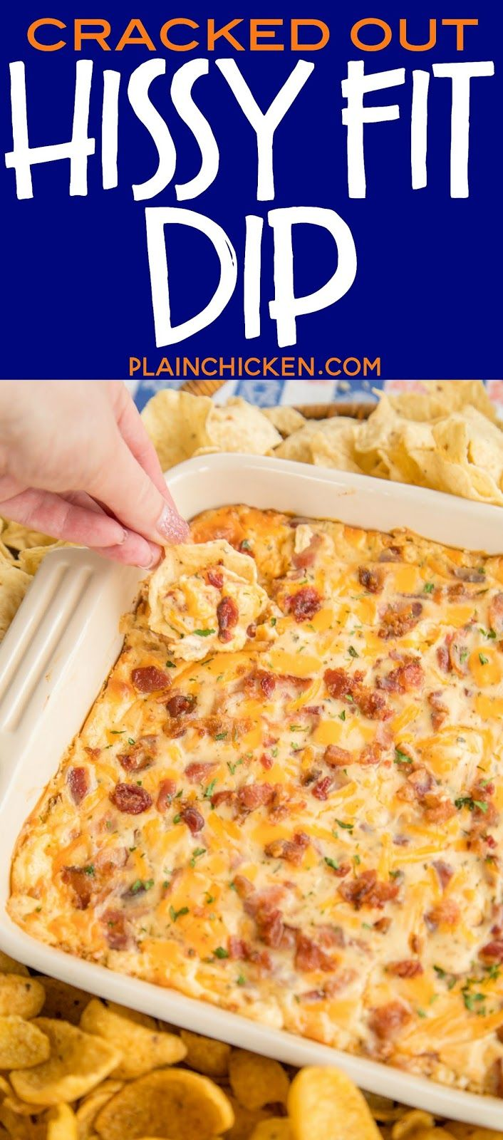Cracked Out Hissy Fit Dip Recipe - cheddar, bacon, ranch, sour cream, Velveeta, Worcestershire sauce and parsley - SO good. You will definitely throw a hissy fit if you miss out on this dip! Crazy good! Can mix together and refrigerate a day before baking. Serve with chips and veggies! It is always gone in a flash!