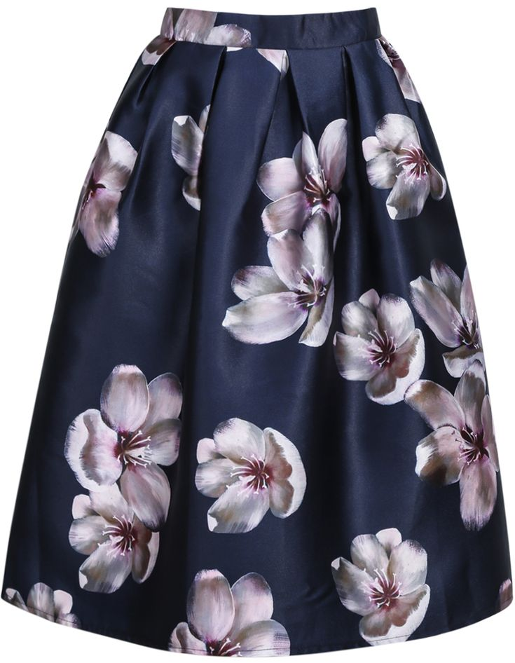 Navy+Florals+Flare+Skirt+With+Zipper+28.00