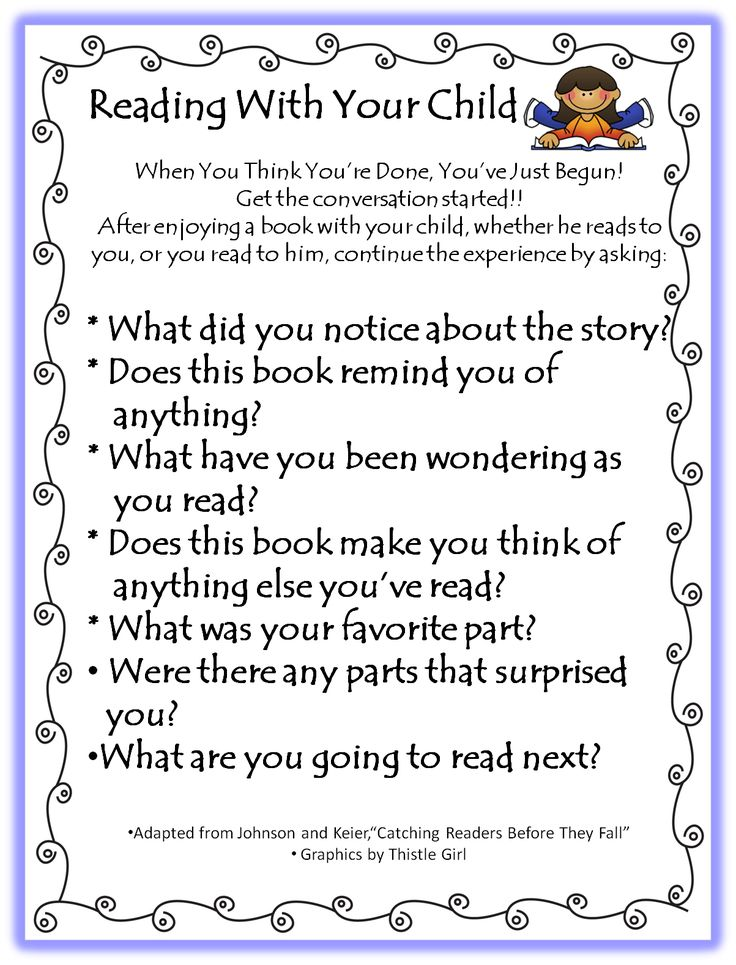 Reading with your Child...paper to send home at the beginning of the year