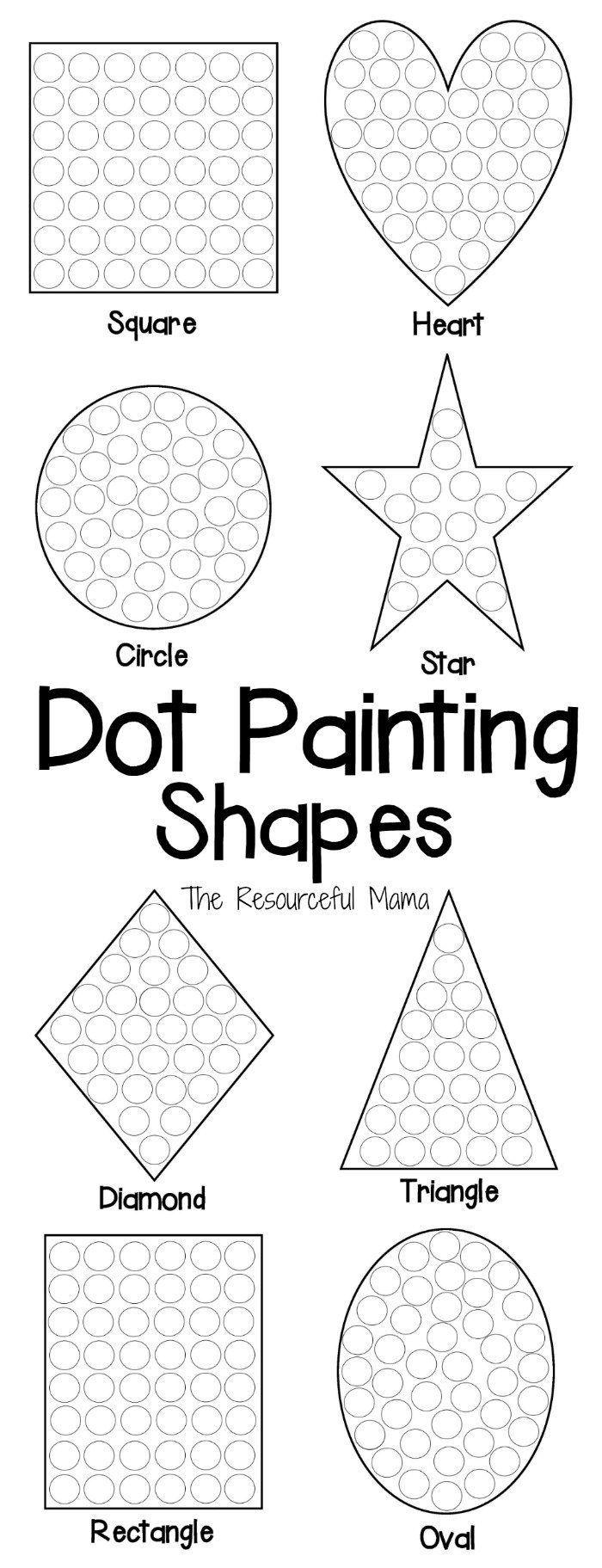 shapes dot painting worksheets  // Páginas para pintar formas con puntos #dotadot #shapes #worksheet