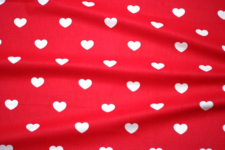 Bawełna czerwono-białe serca - houseofcotton - Bawełna
