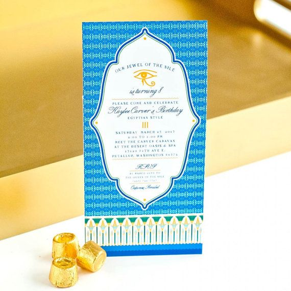 Egyptian Spa Nile Egypt Hieroglyphics Birthday Baby Shower Bridal Party - Printable Customized 4x8 Invitation