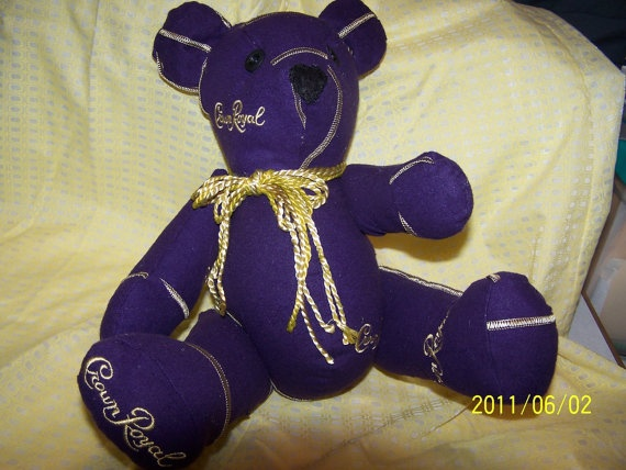 Crown Royal Teddy Bear hahahahaha so many memories. Not sure if that's a good thing though. :/