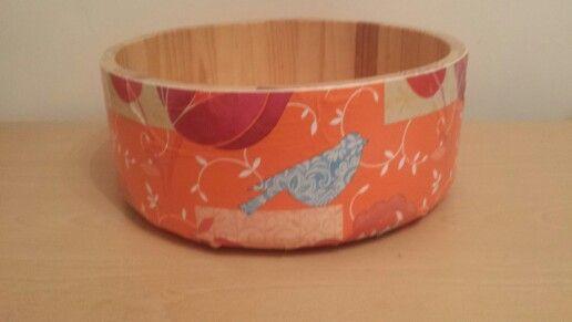 Decoupaged fruit bowl