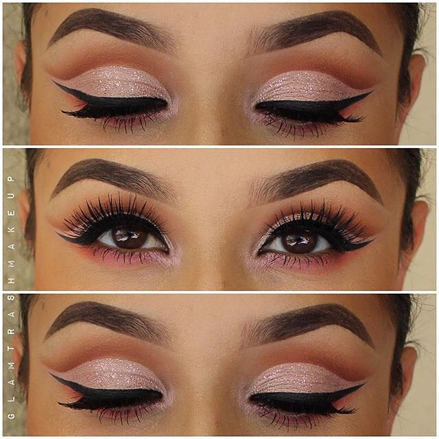 the perfect soft pink cut crease with a touch of sparkle by the beautiful…