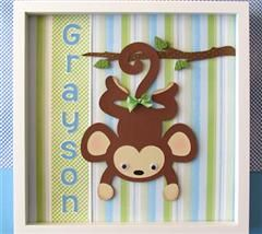 Sharing a personalized 12x12 shadow box that I created for a Monkey themed nursery.  This project was made with the Life's a Party and Birthday Cakes cartridges.