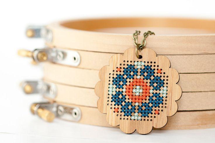 Red Gate Stitchery - DIY Cross Stitch Flower Pendant - Wood Bamboo Blank, Thread, Kit