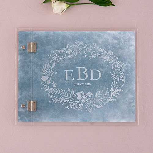 Clear Acrylic Wedding Guest Book - Modern Fairy Tale Etching - The Knot Shop
