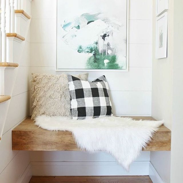A lovely little sitting nook from @cityfarmhouse1. Love how she used this space, don't you? | @scoutandnimble Instagram