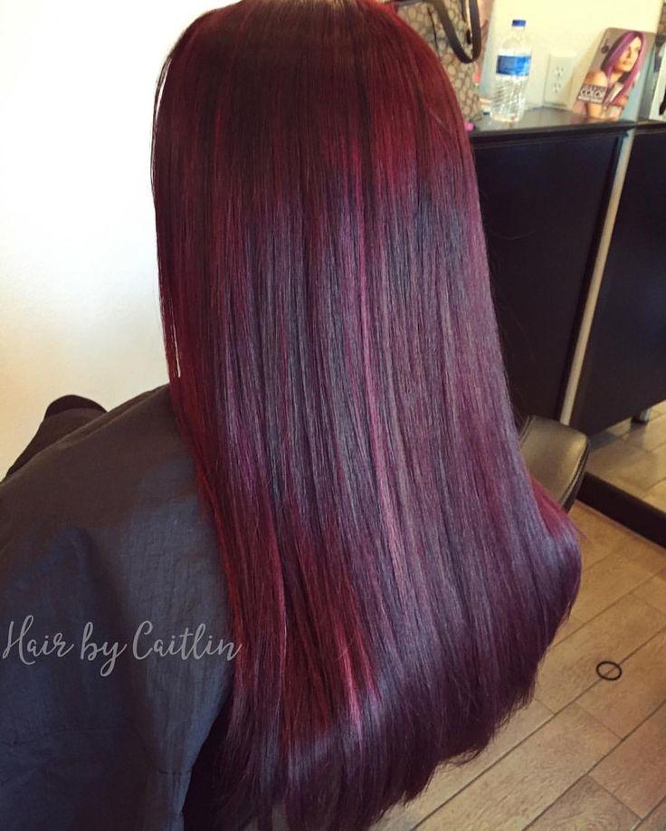 Burgundy hair. Dark red hair.  Plum hair. Red hair. Mahogany hair. Deep red violet hair.  See this Instagram photo by @caitlinrocksmylocks • 9 likes