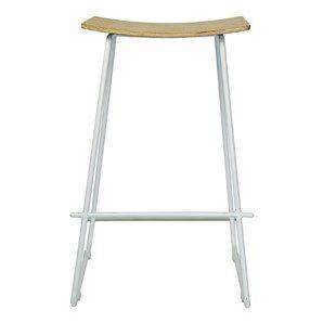 Porter Commercial Grade White Frame Stool - Natural Oak Seat