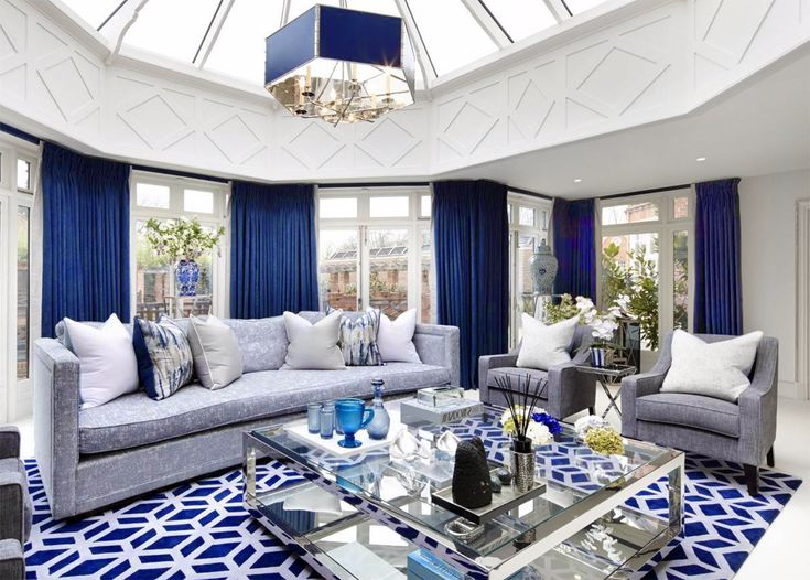 Beautiful BLUE and white transitional living room décor with white sofa and blue velvet armchair, luxury blue living room décor, nautical living room décor, navy blue living room with blue sofa, beach house living room décor, coastal living room décor, royal blue décor, cobalt blue décor