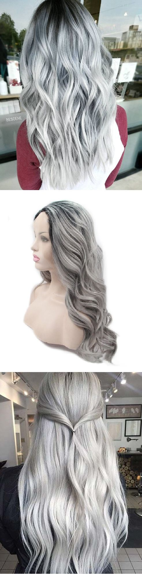 Only $33.89. K'ryssma Ombre Gray 2 Tones Synthetic Lace Front Wig Dark Roots. Buy yours and Celebrate with Savings!