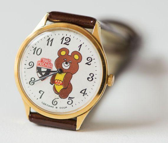 Mascot Misha watch fun watch rare wristwatch Bear Cub by SovietEra