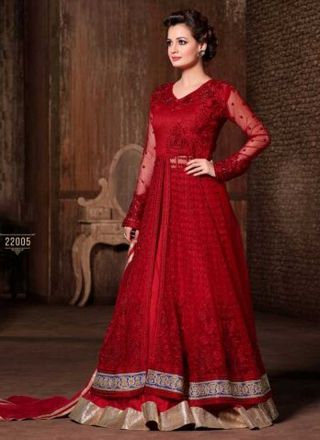 Diya Mirza Awesome Red Net Embroidery Patch Work Border Designer A Line Lehenga Choli http://www.angelnx.com/