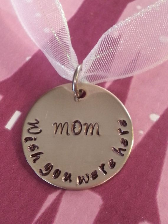Bride bouquet memorial charm - hand stamped and personalized - Wedding, Bride, Gift, In memory of charm, Mom on Etsy, $13.99