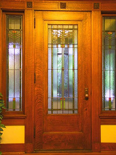 ... Prairie/Mission Style Art Nouveau Style. Do your research to do this style well as it holds much integrity overall. I love this entry door. & 7 best Portas demolição images on Pinterest | Windows Front doors ...
