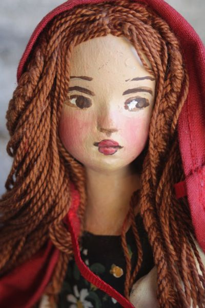 """Little Red Riding Hood Hand painted cast resin, bendable arms with hand painted costume. A limited edition of 200, 11"""" tall."""