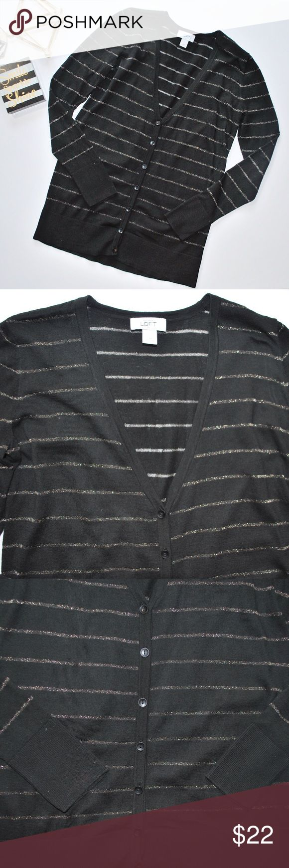 New Listing ➡️ LOFT Black & Gold Cardigan Long button-up, black cardigan with gold stripes. Excellent condition. I will add measurements as soon as possible. LOFT Sweaters Cardigans
