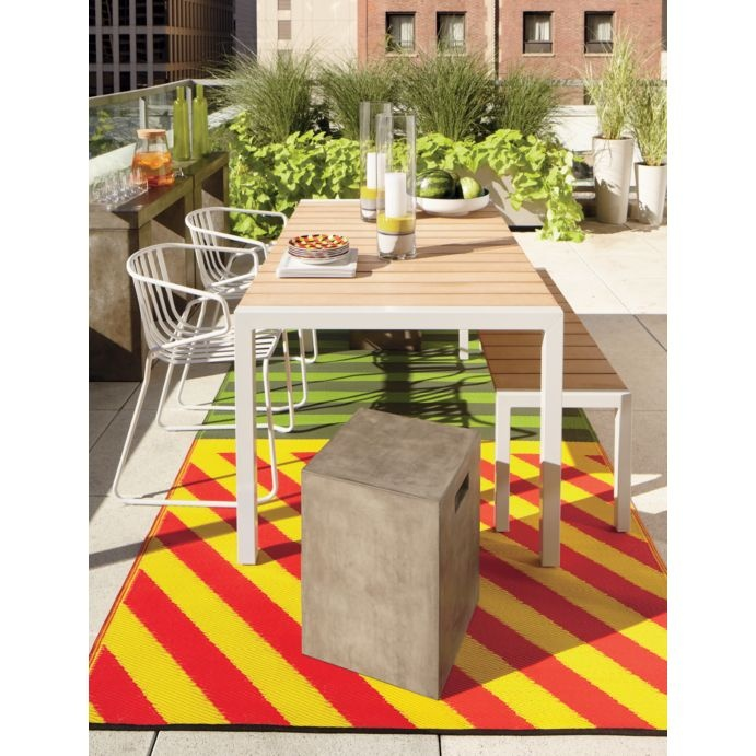 outdoor: chelsea outdoor dining, caution reversible outdoor rug