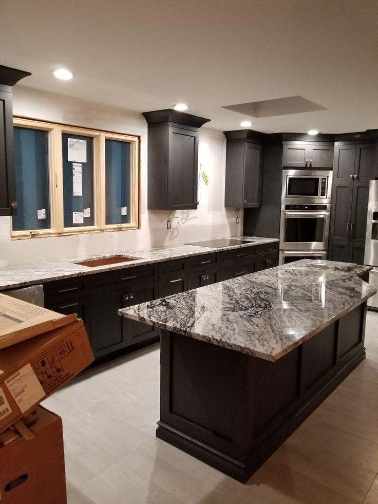 Viscon White granite, modern cabinets, gray, glass   White ...