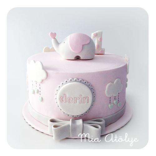 Elephant themed first birthday cake
