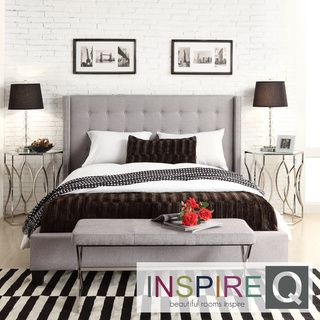 INSPIRE Q Marion Grey Linen Nailhead Wingback Tufted Upholstered Bed Sale Starts at: $449.99 Item #: 15618714 Inspired by a Queen Anne style, this modern wingback bed features a headboard that creates a little corner. The nailhead and tufted button headboard design provide a stunning and attractive look....more View All: INSPIRE Q Beds