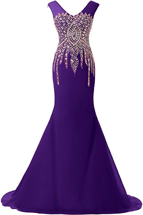 Sunvary Luxurious Rhinestone Mermaid Wedding Reception Prom Dresses 2016 Pageant at Amazon Women's Clothing store: