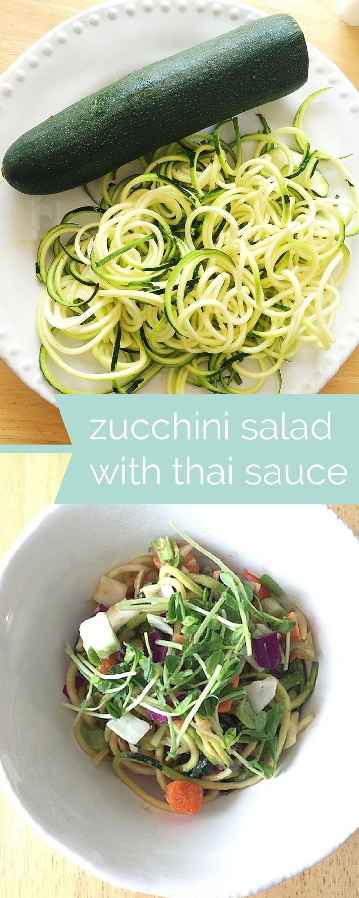 Zucchini noodle salad with spicy thai peanut sauce ...