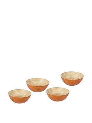Core Bamboo Set of 4 Modern Round Bowls (Natural/Pumpkin)