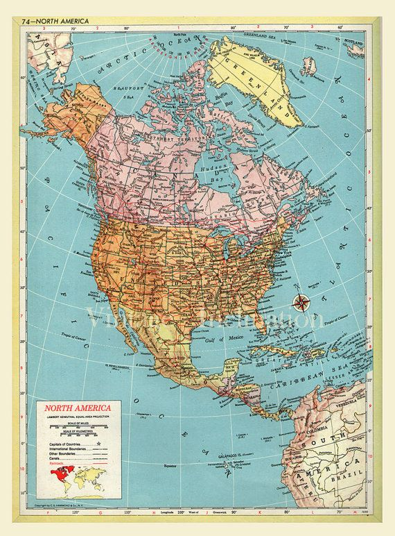Large Map of NORTH AMERICA,Antique print.1891.12x9.75 Inches,Map of USA physical, and political .Antique maps.Large size 30.5x25cm.