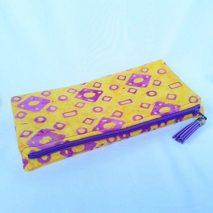 Batik design fabric in yellow and purple Foldover clutch