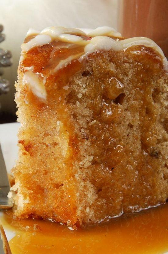 Apple Harvest Pound Cake with Caramel Glaze | foodsweet | foodsweet