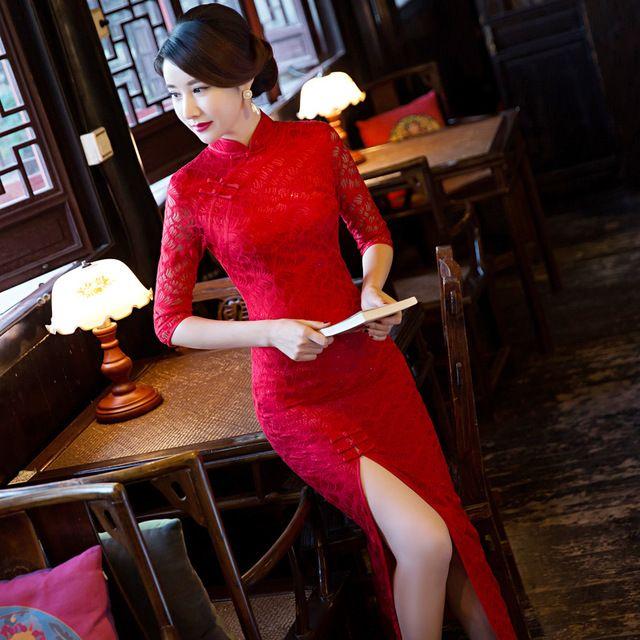 TIC-TEC çin cheongsam uzun qipao ince dantel kırmızı vintage oryantal klasik elbiseler kadın tradicional ayıklaması elbise P3134