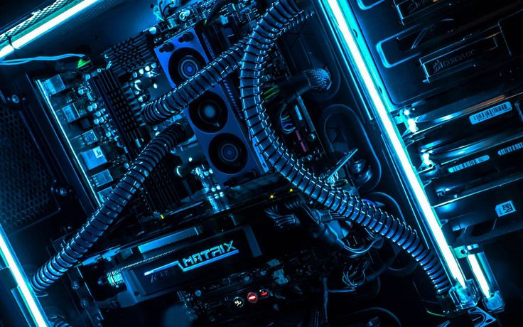 Custom made CPU with metal cased liquid cooling and blue neon sidelines <3