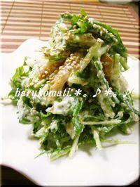お豆腐で水菜がおいしいサラダ