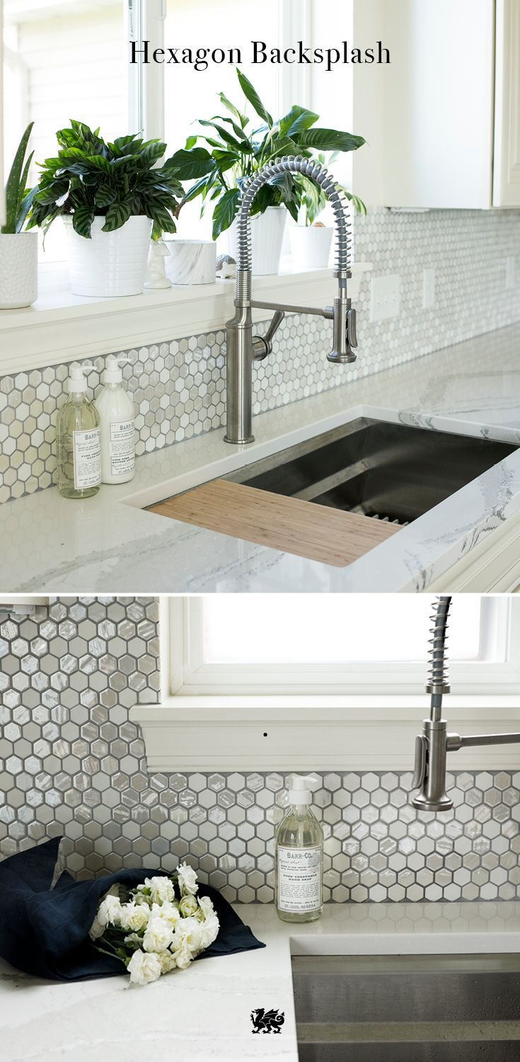 It's geometry made gorgeous with these hexagon tiles. Honeycomb tiling in gleaming neutral shades provides a beautiful backsplash for white kitchens and is a perfect complement to Cambria natural white quartz countertops. [Featured Design: Brittanicca™]