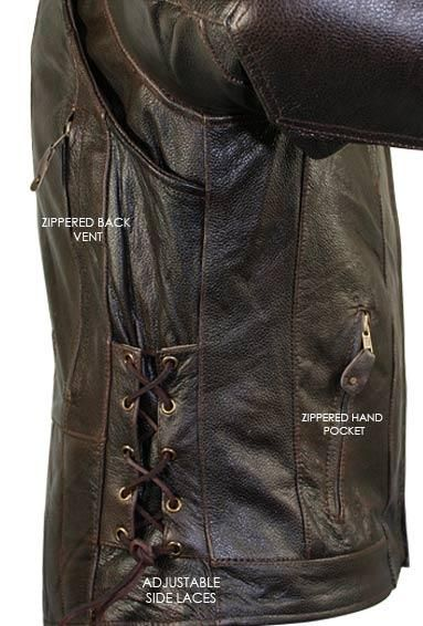 Men's Retro Brown Premium Cowhide Distressed Leather Embossed Cruiser Biker Jacket | Charlie London - Leather Jackets for Men and Women - FREE UK DELIVERY