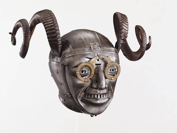 Henry VIIIth's Horned Helmet 1512-14  Gift from the Holy Roman Emperor Maximilian I, a product of the workshops of Master Armourer Konrad Seusenhofer. It shows that purely decorative armour was being used as diplomatic gifts - as a means of advertising political allegiances through the devices and motifs they displayed.  © Royal Armouries