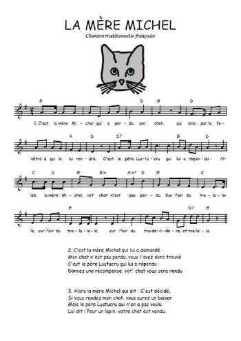Téléchargez la partition gratuite de la chanson La mère Michel, Comptine traditionnelle française avec accords de guitare. Chanson traditionnelle