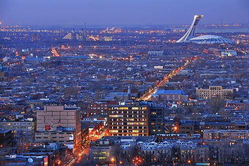 Montreal city, Olympic Park, view from Mont Royal