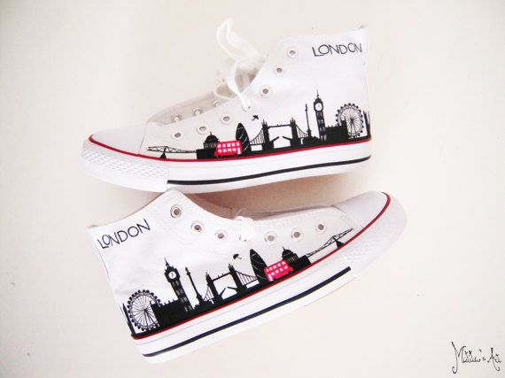 Personalized shoes / Country shoes - United Kingdom shoes / London skyline / England theme, by Matita's Art