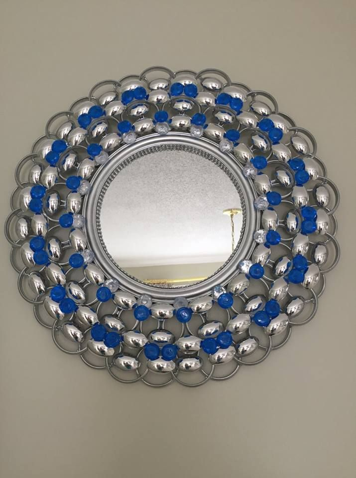 Royal Blue Mirror Wall Decor Accessorized With Plastic Spoons