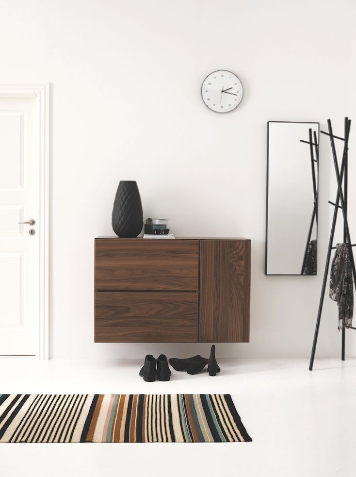 Hallway inspiration - wall mounting gives the feeling of more space