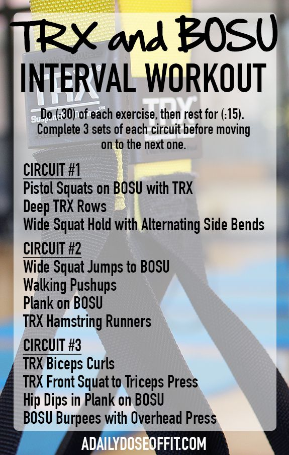 This interval workout with a TRX and BOSU will give you a quick total-body workout / A Daily Dose of Fit