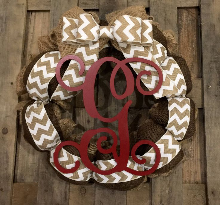 Monogram Burlap Wreath Brown Espresso White Chevron Bow Red Vine Wood Letter Front Door Personalized Wedding Gift You Choose letter by UniquelyRestoredShop on Etsy