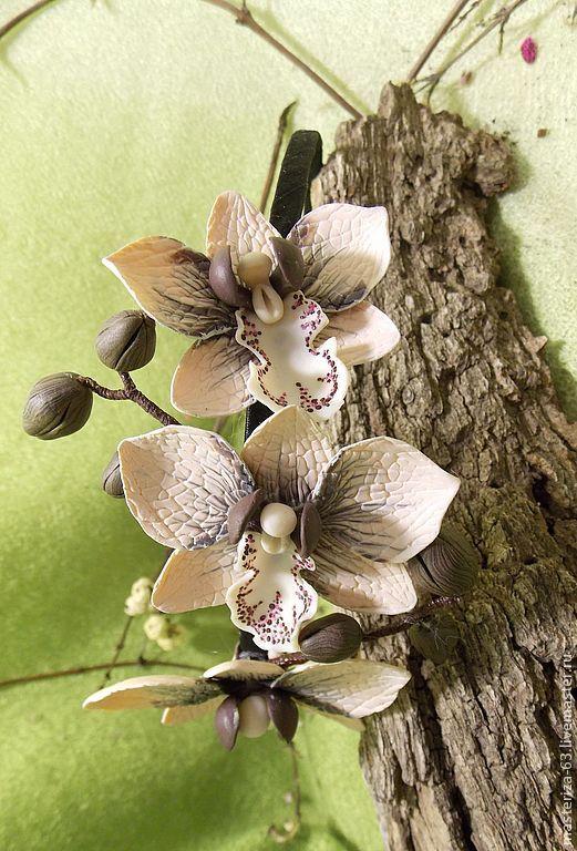 """Ободок для волос орхидеи""""сиамские котята"""" - коричневый,белый,орхидея"""