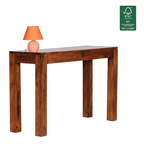 FineBuy Konsolentisch Massivholz Sheesham Konsole Mit 1 Schublade Schreibtisch 120 X 40 Cm Landhaus Stil