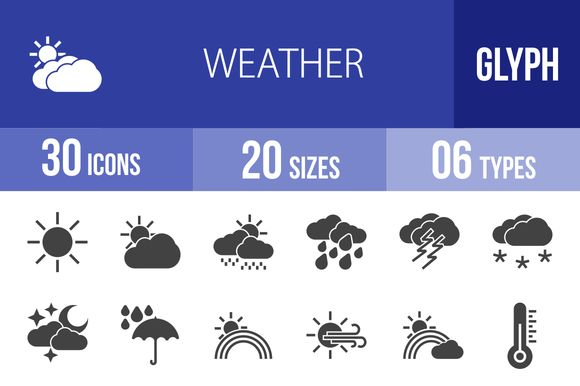 30 Weather Glyph Icons by IconBunny on Creative Market